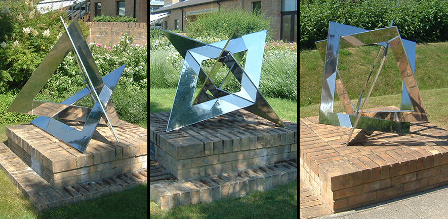 "symbolic sculptures ""Intuition"", ""Genesis"" and ""Creation"" by John Robinson"
