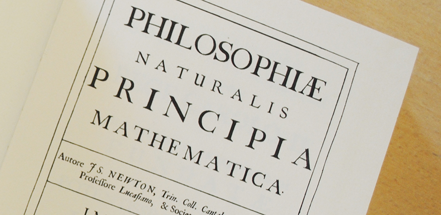 Frontispiece from reprint of Philosophiae Naturalis Principia Mathematica