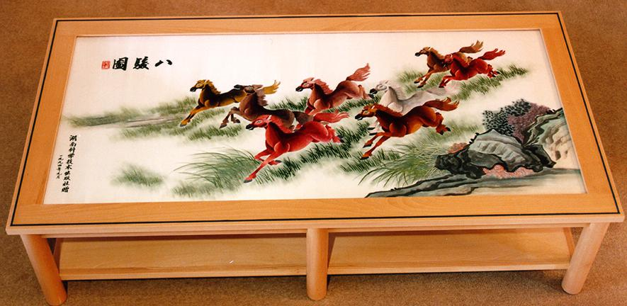 """Eight Beautiful Horses"" Chinese silk tapestry"