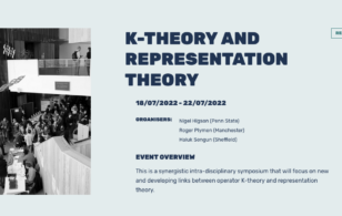 EVENT: K-Theory and Representation Theory, July 2022